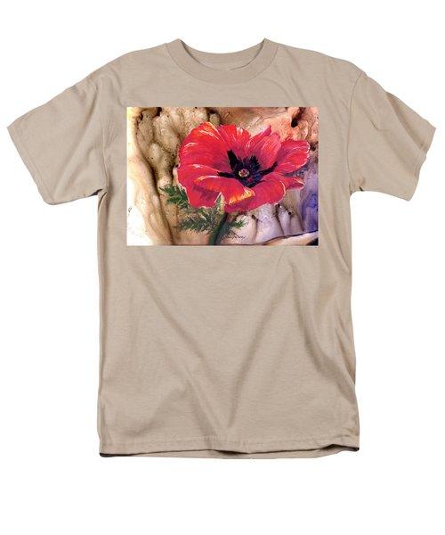 Men's T-Shirt  (Regular Fit) featuring the painting Red Poppy by Sherry Shipley
