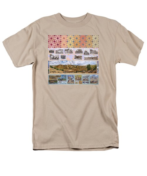 Men's T-Shirt  (Regular Fit) featuring the painting River Mural Autumn Panel Top Half by Dawn Senior-Trask