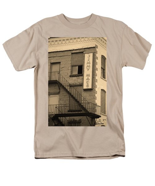 Men's T-Shirt  (Regular Fit) featuring the photograph Rochester, New York - Jimmy Mac's Bar 2 Sepia by Frank Romeo
