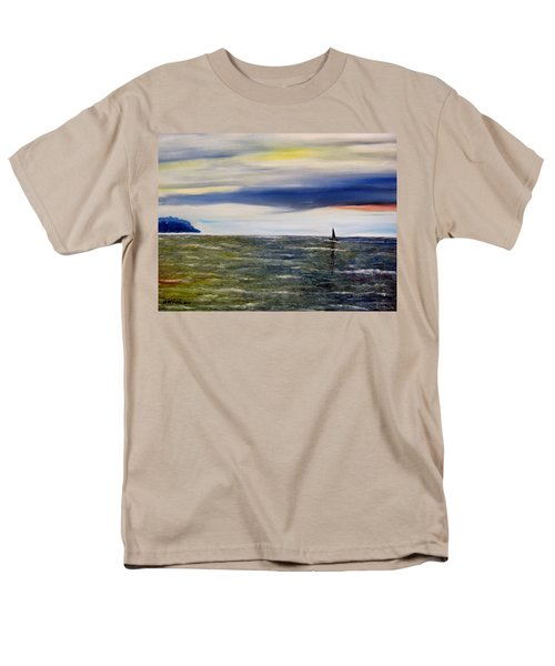 Men's T-Shirt  (Regular Fit) featuring the painting Sailing At Dusk by Marilyn  McNish