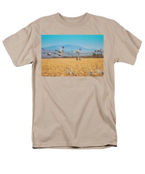 Sandhill Cranes In Flight Men's T-Shirt  (Regular Fit) by Donna Greene