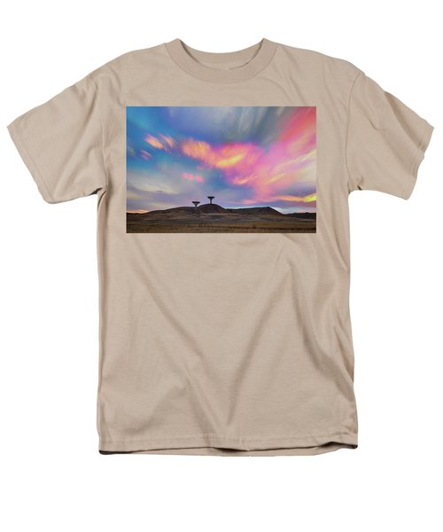 Men's T-Shirt  (Regular Fit) featuring the photograph Satellite Dishes Quiet Communications To The Skies by James BO Insogna
