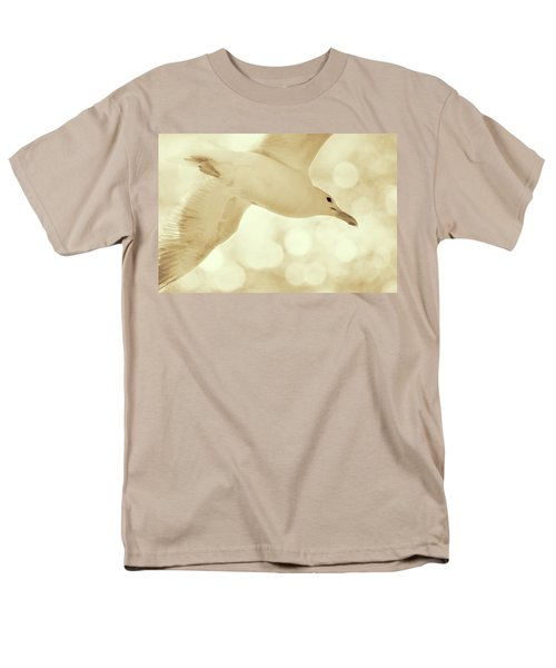 Men's T-Shirt  (Regular Fit) featuring the photograph Sea Gull On Neutral Bokeh Background by Peggy Collins