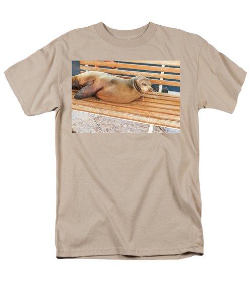Sea Lion On A Bench, Galapagos Islands Men's T-Shirt  (Regular Fit) by Marek Poplawski