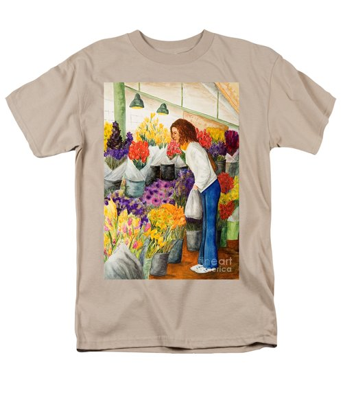 Men's T-Shirt  (Regular Fit) featuring the painting Shopping Pike's Market by Vicki  Housel