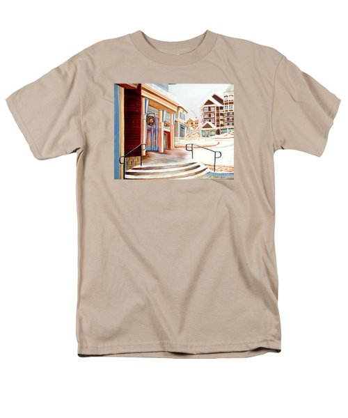 Men's T-Shirt  (Regular Fit) featuring the painting Snowshoe Village Shops by Shelia Kempf