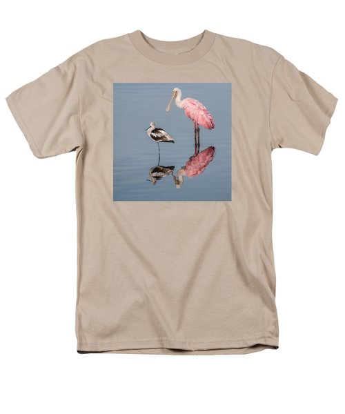Spoonbill, American Avocet, And Reflection Men's T-Shirt  (Regular Fit) by Dorothy Cunningham