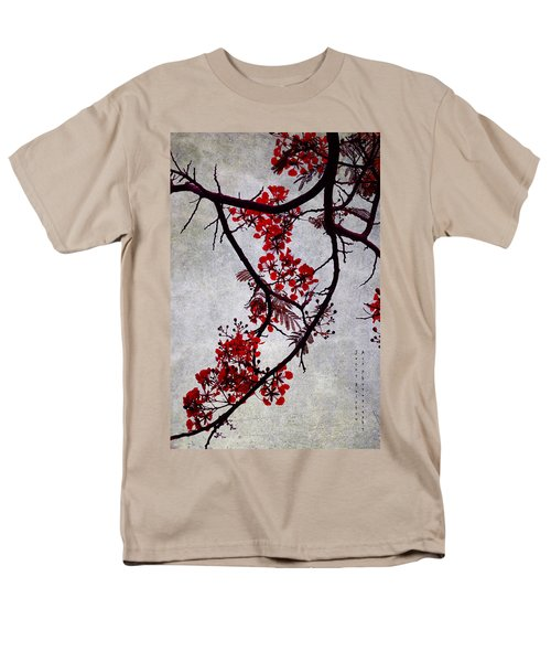 Spring Bloosom In Maldives. Flamboyant Tree II. Japanese Style Men's T-Shirt  (Regular Fit) by Jenny Rainbow