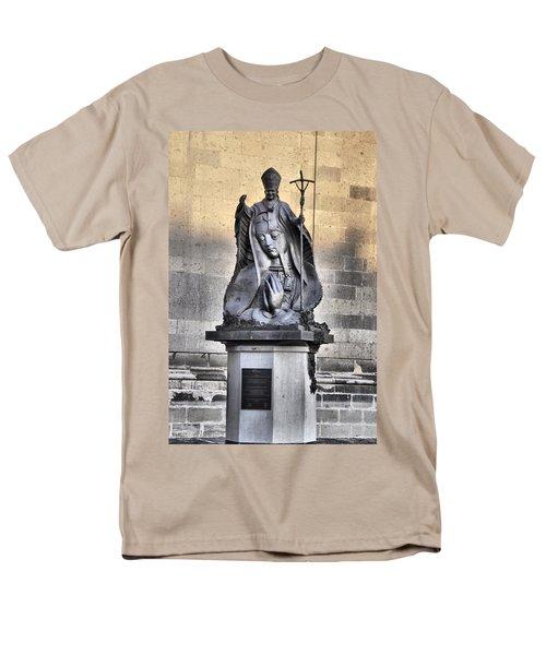 Men's T-Shirt  (Regular Fit) featuring the photograph Statue Of Pope John Paul by Jim Walls PhotoArtist