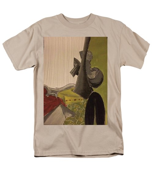 Men's T-Shirt  (Regular Fit) featuring the pastel Still Life With A Black Horse- Cubism by Manuela Constantin