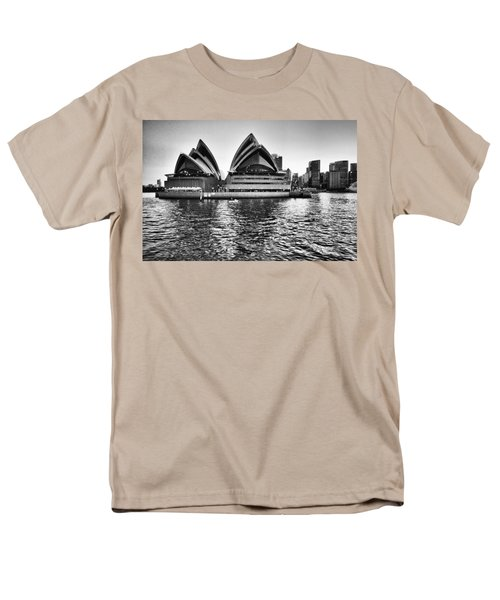 Sydney Opera House-black And White Men's T-Shirt  (Regular Fit) by Douglas Barnard