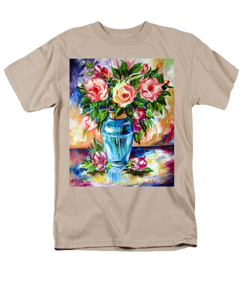 Men's T-Shirt  (Regular Fit) featuring the painting Three Roses In A Glass Vase by Roberto Gagliardi