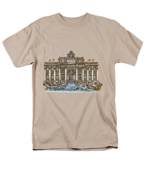 Men's T-Shirt  (Regular Fit) featuring the painting  Trevi Fountain,rome  by Andrzej Szczerski