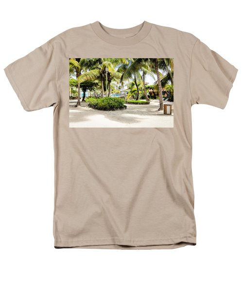 Men's T-Shirt  (Regular Fit) featuring the photograph Tropical Courtyard by Lawrence Burry