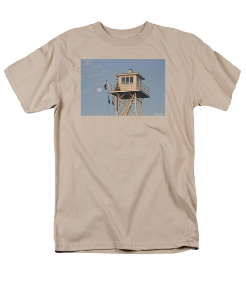 Men's T-Shirt  (Regular Fit) featuring the photograph Us Flag Waves At The Full Moon by Robert Banach