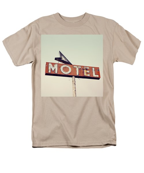 Men's T-Shirt  (Regular Fit) featuring the photograph Vacancy Vintage Motel Sign by Melanie Alexandra Price