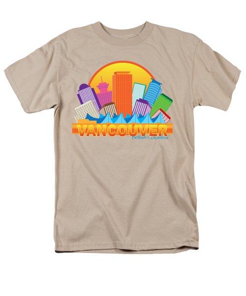 Vancouver Bc Canada Skyline Circle Color Illustration Men's T-Shirt  (Regular Fit) by Jit Lim