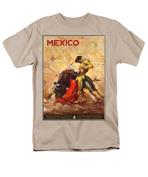 Vintage Mexico Bullfight Travel Poster Men's T-Shirt  (Regular Fit) by George Pedro