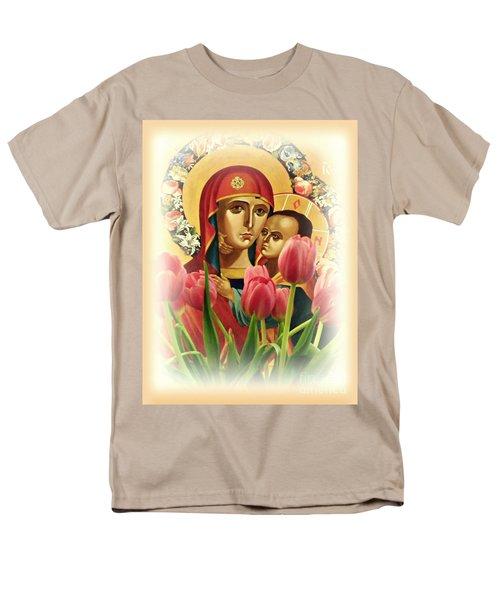 Virgin Mary And Tulips      Men's T-Shirt  (Regular Fit) by Sarah Loft