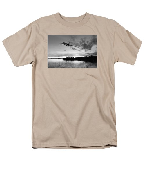 Men's T-Shirt  (Regular Fit) featuring the digital art Vulcan Low Over A Sunset Lake Sunset Lake Bw by Gary Eason