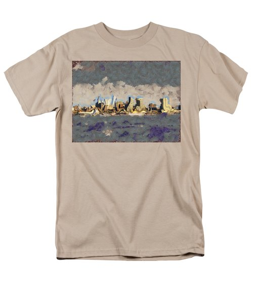 Men's T-Shirt  (Regular Fit) featuring the mixed media Wacky Philly Skyline by Trish Tritz