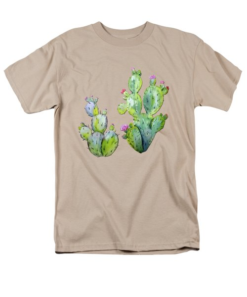 Water Color Prickly Pear Cactus Adobe Background Men's T-Shirt  (Regular Fit) by Elaine Plesser