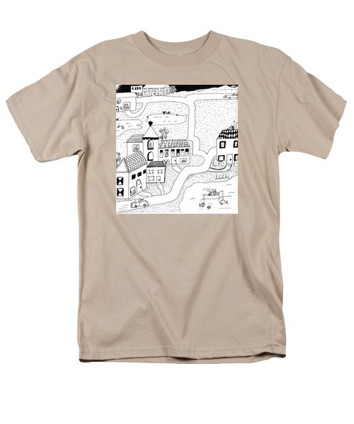 Men's T-Shirt  (Regular Fit) featuring the painting Whimsy Town by Lou Belcher