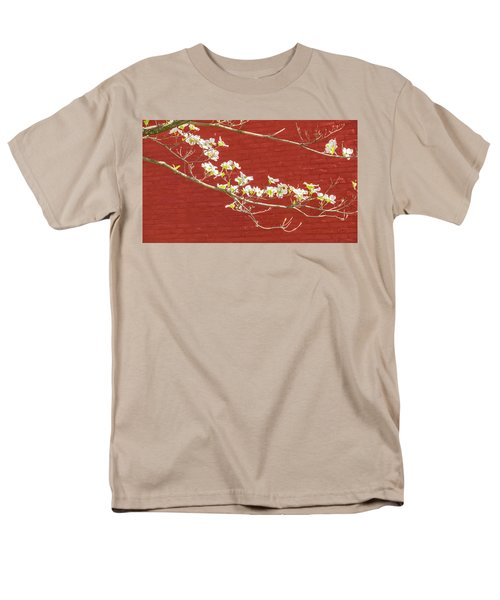 White Dogwood Brick Wall Men's T-Shirt  (Regular Fit) by Tom Singleton