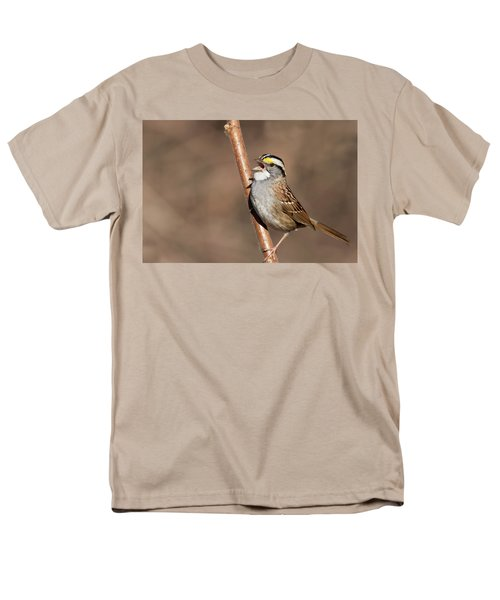 Men's T-Shirt  (Regular Fit) featuring the photograph White-throated Sparrow by Mircea Costina Photography