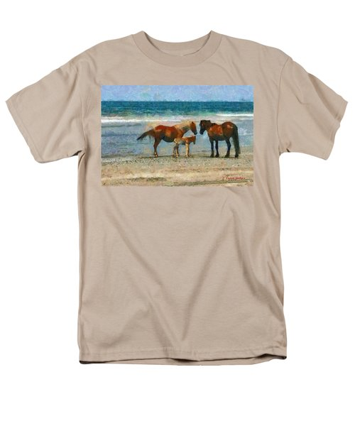 Wild Horses Of The Outer Banks Men's T-Shirt  (Regular Fit) by Lynne Jenkins