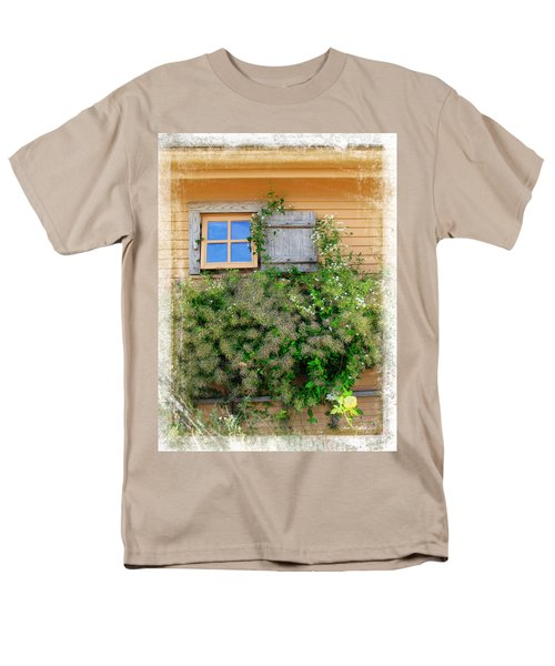 Men's T-Shirt  (Regular Fit) featuring the photograph Window Floral In Plymouth by Joan  Minchak