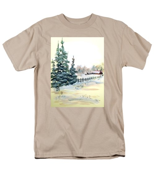 Men's T-Shirt  (Regular Fit) featuring the painting Winter Comes At The Farm  by Dorothy Maier