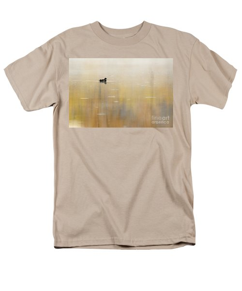 Men's T-Shirt  (Regular Fit) featuring the photograph Wood Duck On Golden Pond by Larry Ricker