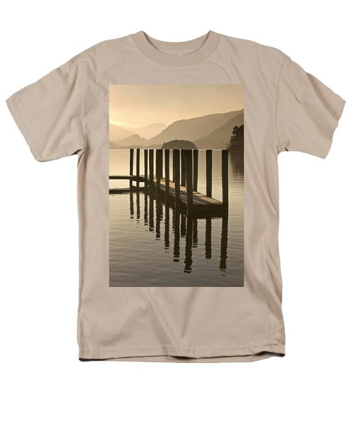 Wooden Dock In The Lake At Sunset Men's T-Shirt  (Regular Fit) by John Short