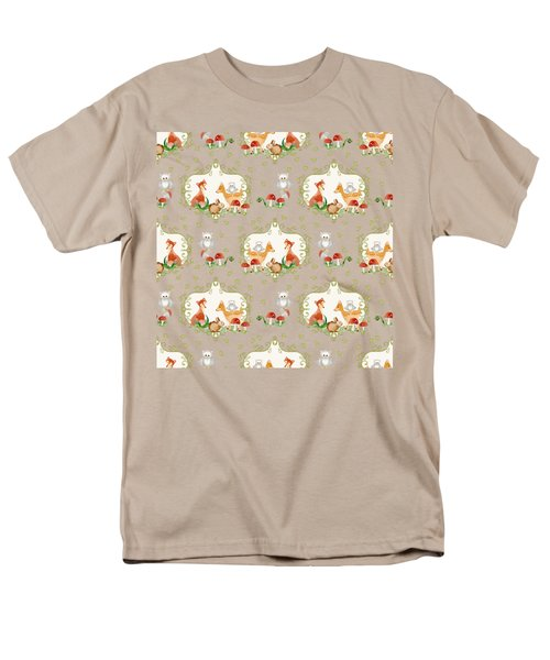 Men's T-Shirt  (Regular Fit) featuring the painting Woodland Fairy Tale - Mint Green Sweet Animals Fox Deer Rabbit Owl - Half Drop Repeat by Audrey Jeanne Roberts