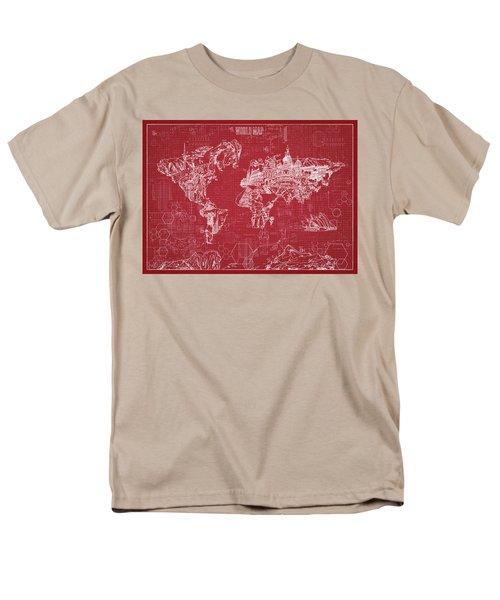 World Map Blueprint 3 Men's T-Shirt  (Regular Fit) by Bekim Art