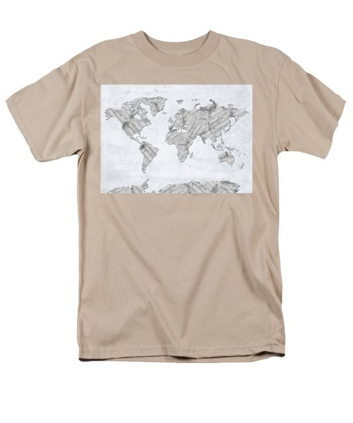 Men's T-Shirt  (Regular Fit) featuring the digital art World Map Music 10 by Bekim Art