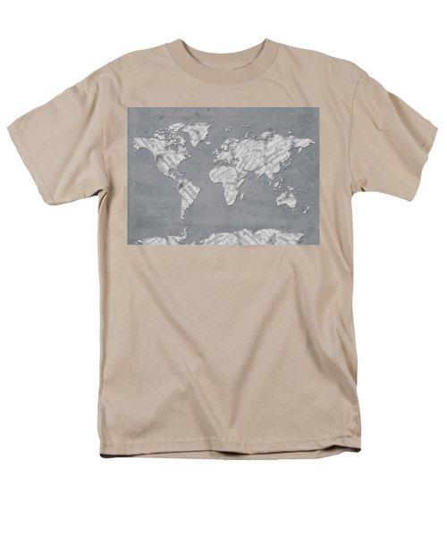 Men's T-Shirt  (Regular Fit) featuring the digital art World Map Music 11 by Bekim Art
