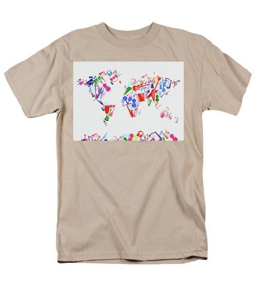 Men's T-Shirt  (Regular Fit) featuring the digital art World Map Music 3 by Bekim Art