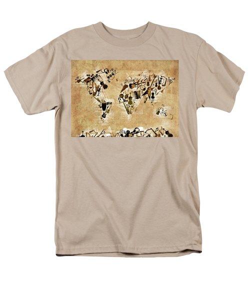Men's T-Shirt  (Regular Fit) featuring the digital art World Map Music 4 by Bekim Art