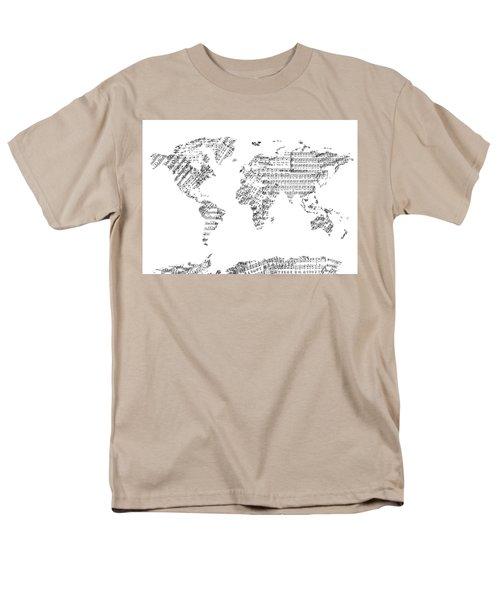 Men's T-Shirt  (Regular Fit) featuring the digital art World Map Music 8 by Bekim Art