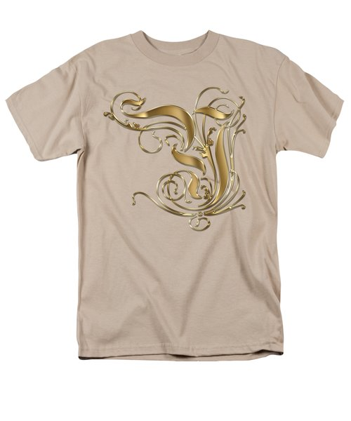 Y Ornamental Letter Gold Typography Men's T-Shirt  (Regular Fit) by Georgeta Blanaru