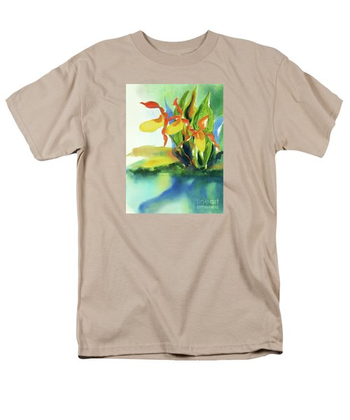 Men's T-Shirt  (Regular Fit) featuring the painting Yellow Moccasin Flowers by Kathy Braud