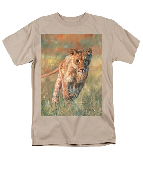 Men's T-Shirt  (Regular Fit) featuring the painting Youn Lion by David Stribbling
