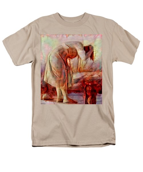 Men's T-Shirt  (Regular Fit) featuring the painting Young Woman Washing River Bent Over Old Master Sketch Painting In Orange Blue Oil-like Acrylic Warm Paint by MendyZ