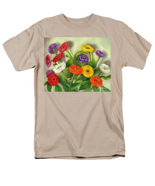 Men's T-Shirt  (Regular Fit) featuring the painting Zinnias by Randol Burns