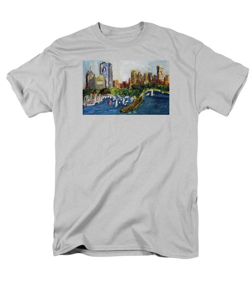 Boston Skyline Men's T-Shirt  (Regular Fit) by Michael Helfen
