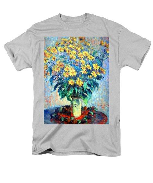 Men's T-Shirt  (Regular Fit) featuring the photograph Monet's Jerusalem  Artichoke Flowers by Cora Wandel