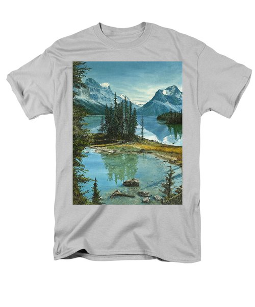 Men's T-Shirt  (Regular Fit) featuring the painting Mountain Island Sanctuary by Mary Ellen Anderson