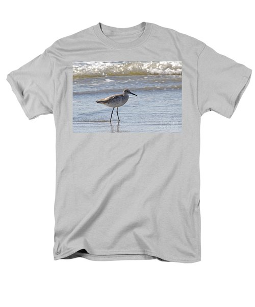 Willet Bird Wading In Ocean Surf Men's T-Shirt  (Regular Fit) by Kevin McCarthy